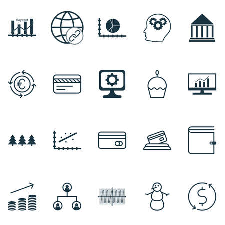Set Of 20 Universal Editable Icons. Can Be Used For Web, Mobile And App Design. Includes Icons Such As Holiday Ornament, Credit Card, Education Center And More. Illustration