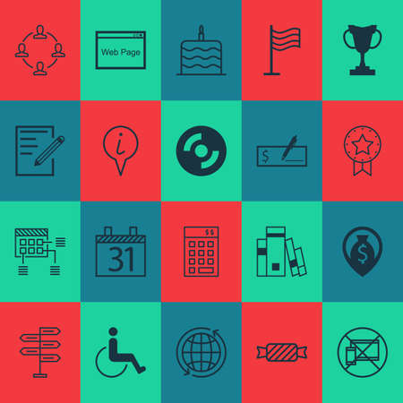 portable rom: Set Of 20 Universal Editable Icons. Can Be Used For Web, Mobile And App Design. Includes Icons Such As Celebration Cake, Website, Accessibility And More.