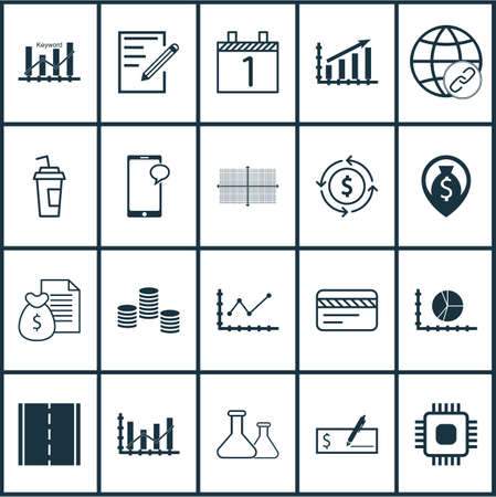 spending: Set Of 20 Universal Editable Icons. Can Be Used For Web, Mobile And App Design. Includes Icons Such As Circle Graph, Profit Graph, Connectivity And More. Illustration