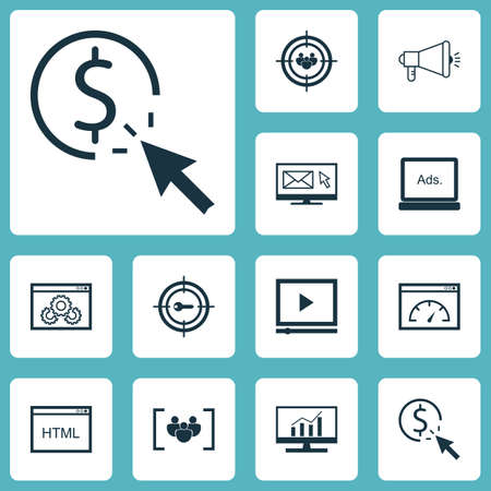 Set Of SEO Icons On PPC, Website Performance And Loading Speed Topics. Editable Vector Illustration. Includes Focus, Website, Dynamics And More Vector Icons.