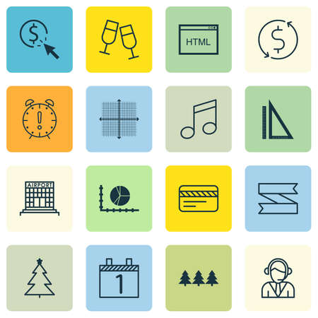 crotchets: Set Of 16 Universal Editable Icons. Can Be Used For Web, Mobile And App Design. Includes Icons Such As Operator, Crotchets, PPC And More. Illustration