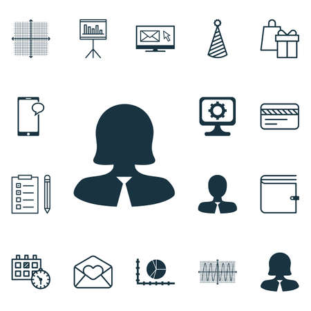 Set Of 16 Universal Editable Icons. Can Be Used For Web, Mobile And App Design. Includes Icons Such As Circle Graph, Manager, Bank Card And More.