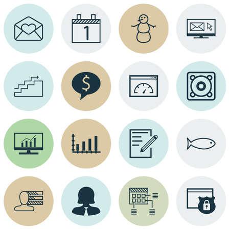 Ensemble de 16 icônes modifiables universelles. Peut être utilisé pour la conception Web, mobile et d'application. Comprend des icônes telles que la newsletter, la croissance, l'hiver, etc.