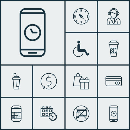 Set Of Transportation Icons On Money Trasnfer, Accessibility And Drink Cup. Editable Vector Illustration. Includes Locate, Calculation, Shopping And More Vector Icons.