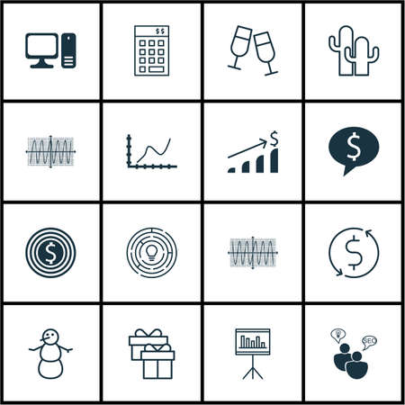 bank branch: Set Of 16 Universal Editable Icons. Can Be Used For Web, Mobile And App Design. Includes Icons Such As Achievement Graph, Desktop Computer, Innovation And More. Illustration