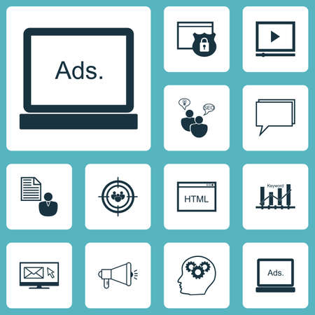 consumer society: Set Of Advertising Icons On SEO Brainstorm, Video Player And Conference Topics. Editable Vector Illustration. Includes Email, Display, Focus And More Vector Icons. Illustration