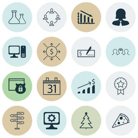 Ensemble de 16 icônes modifiables universelles. Peut être utilisé pour la conception Web, Mobile et App. Comprend des icônes telles que la date, l'argent, le coaching, etc.