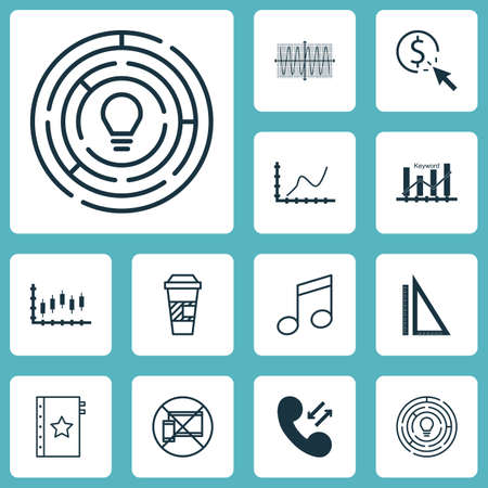 crotchets: Set Of 12 Universal Editable Icons. Can Be Used For Web, Mobile And App Design. Includes Icons Such As Achievement Graph, Crotchets, Measurement And More. Illustration