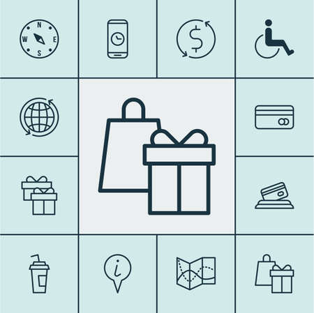Set Of Travel Icons On Shopping, Accessibility And Credit Card Topics. Editable Vector Illustration. Includes Globe, Info, Gift And More Vector Icons.