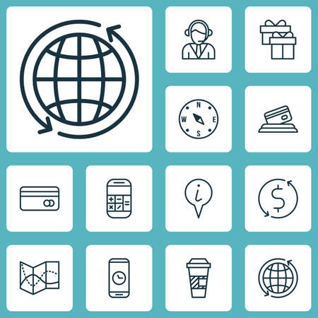Set Of Traveling Icons On Takeaway Coffee, Money Trasnfer And Info Pointer Topics. Editable Vector Illustration. Includes Calculator, Transfer, Takeaway And More Vector Icons.