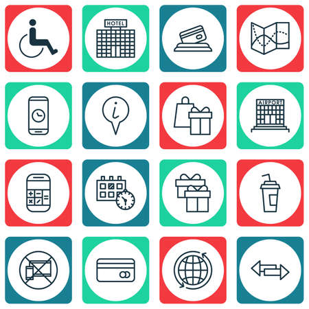 paralyzed: Set Of Traveling Icons On World, Accessibility And Road Map Topics. Editable Vector Illustration. Includes Direction, Date, Paralyzed And More Vector Icons.