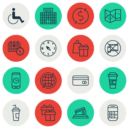 duration: Set Of Transportation Icons On Call Duration, Locate And Calculation Topics. Editable Vector Illustration. Includes Disabled, Globe, Around And More Vector Icons.