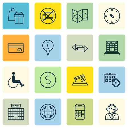 infirm: Set Of Traveling Icons On Info Pointer, Plastic Card And Operator Topics. Editable Vector Illustration. Includes Paralyzed, Accessibility, Calculation And More Vector Icons. Illustration