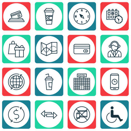 Set Of Transportation Icons On Appointment, Forbidden Mobile And Accessibility Topics. Editable Vector Illustration. Includes Compass, Call, Around And More Vector Icons.