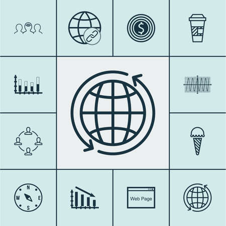 cosinus: Set Of 12 Universal Editable Icons. Can Be Used For Web, Mobile And App Design. Includes Icons Such As Business Goal, Cosinus Diagram, Locate And More. Illustration