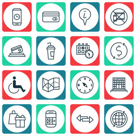 Set Of Transportation Icons On Drink Cup, Crossroad And Road Map Topics. Editable Vector Illustration. Includes Globe, Phone, Shopping And More Vector Icons.