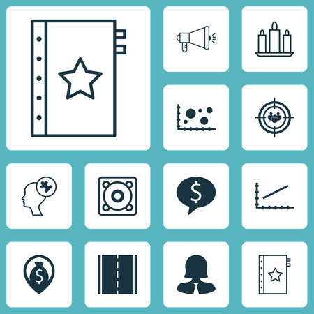 mind set: Set Of 12 Universal Editable Icons. Can Be Used For Web, Mobile And App Design. Includes Icons Such As Line Graph, Media Campaign, Human Mind And More. Illustration