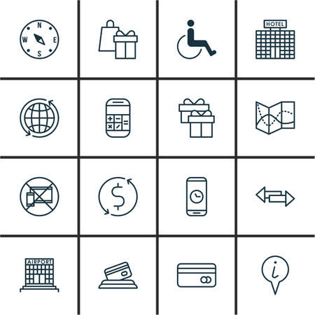 infirm: Set Of Transportation Icons On Road Map, Forbidden Mobile And World Topics. Editable Vector Illustration. Includes Airport, Disabled, Phone And More Vector Icons. Illustration