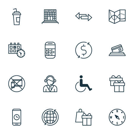 duration: Set Of Travel Icons On Appointment, Call Duration And Road Map Topics. Editable Vector Illustration. Includes Payment, Compass, Center And More Vector Icons.