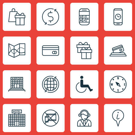 locate: Set Of Traveling Icons On Shopping, Operator And Forbidden Mobile Topics. Editable Vector Illustration. Includes Locate, Shopping, Math And More Vector Icons.