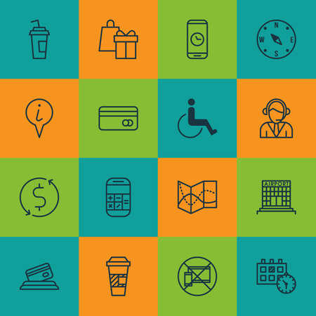 accessibility: Set Of Travel Icons On Drink Cup, Accessibility And Calculation Topics. Editable Vector Illustration. Includes No, Airport, Paper And More Vector Icons.
