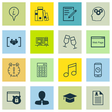crotchets: Set Of 16 Universal Editable Icons. Can Be Used For Web, Mobile And App Design. Includes Icons Such As Crotchets, Computer, Graduation And More. Illustration