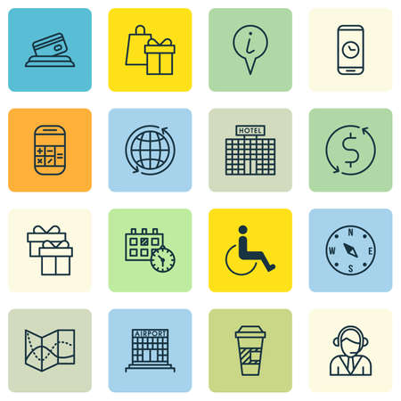 accessibility: Set Of Traveling Icons On World, Accessibility And Credit Card Topics. Editable Vector Illustration. Includes Phone, Locate, Info And More Vector Icons. Illustration