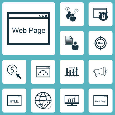 Set Of SEO Icons On Website, Coding And SEO Brainstorm Topics. Editable Vector Illustration. Includes Target, Optimization, Click And More Vector Icons.