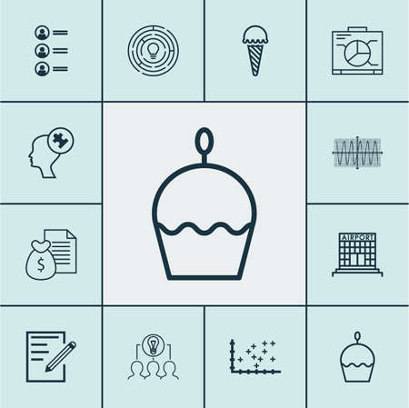 cake paper: Set Of 12 Universal Editable Icons. Can Be Used For Web, Mobile And App Design. Includes Icons Such As Birthday Cake, Paper, Innovation And More. Illustration