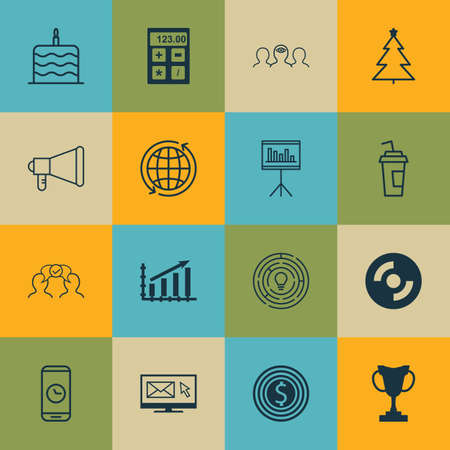 Set Of 16 Universal Editable Icons. Can Be Used For Web, Mobile And App Design. Includes Icons Such As Newsletter, Business Goal, Coaching And More.