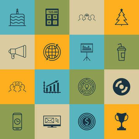 Ensemble de 16 icônes modifiables universelles. Peut être utilisé pour le Web, Mobile et App Design. Comprend des icônes telles que la newsletter, les objectifs commerciaux, le coaching et bien plus encore.