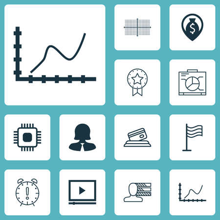 big timer: Set Of 12 Universal Editable Icons. Can Be Used For Web, Mobile And App Design. Includes Icons Such As Business Woman, Video Player, Pin And More. Illustration