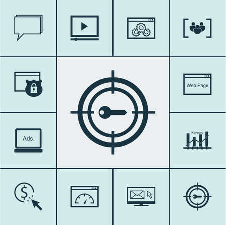 briefing: Set Of SEO Icons On Keyword Optimisation, Newsletter And PPC Topics. Editable Vector Illustration. Includes Newsletter, Consulting, Web And More Vector Icons. Illustration