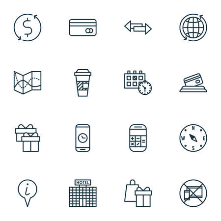 Set Of Airport Icons On Calculation, Appointment And Takeaway Coffee Topics. Editable Vector Illustration. Includes Shopping, Debit, Cup And More Vector Icons. Illustration