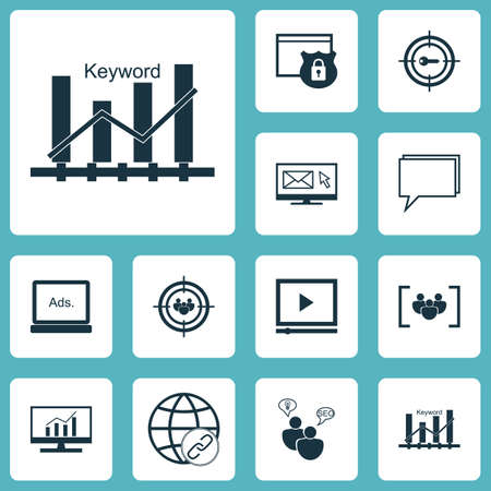 Set Of SEO Icons On Keyword Optimisation, Digital Media And Video Player Topics. Editable Vector Illustration. Includes Consulting, Focus, Advertising And More Vector Icons. Illustration