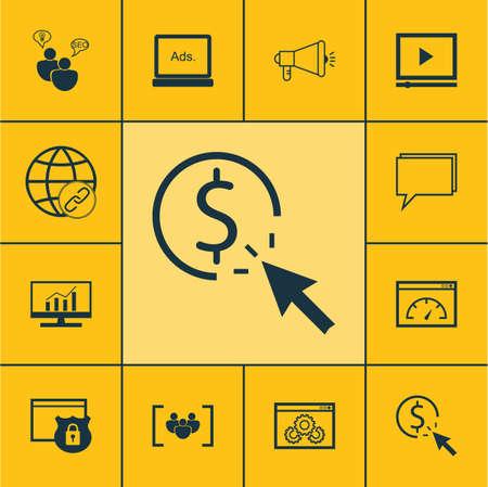 Ensemble d'icônes marketing sur la performance du site Web, de conférence et de sécurité Sujets. Editable Vector Illustration. Comprend Per, Dynamics, Viral Et Plus icônes vectorielles.