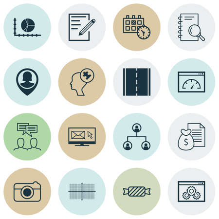 reporting: Set Of 16 Universal Editable Icons. Can Be Used For Web, Mobile And App Design. Includes Icons Such As Sweet, Newsletter, Website Performance And More.