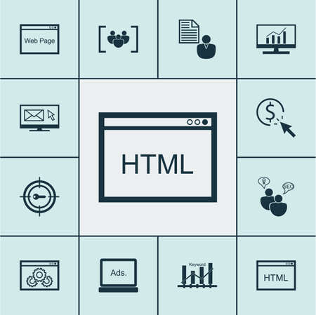 dynamic html: Set Of Marketing Icons On Keyword Optimisation, Newsletter And Questionnaire Topics. Editable Vector Illustration. Includes Comprehensive, Display, Target And More Vector Icons. Illustration