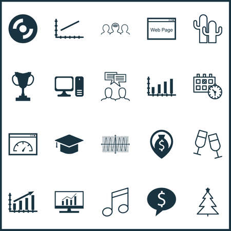 Set Of 20 Universal Editable Icons. Can Be Used For Web, Mobile And App Design. Includes Icons Such As Crotchets, Discussion, Cacti And More.