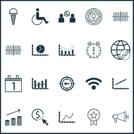 infirm: Set Of 20 Universal Editable Icons. Can Be Used For Web, Mobile And App Design. Includes Icons Such As Achievement Graph, Cosinus Diagram, Agenda And More. Illustration