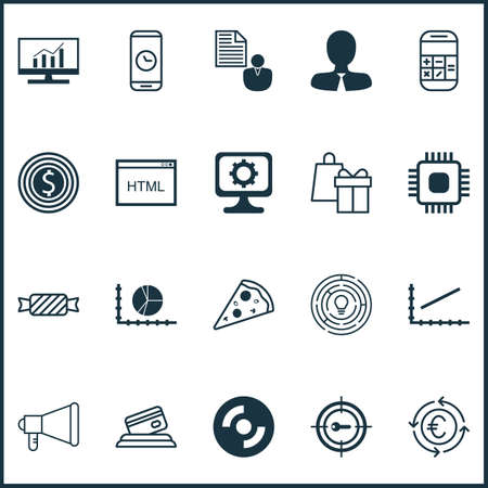 chip set: Set Of 20 Universal Editable Icons. Can Be Used For Web, Mobile And App Design. Includes Icons Such As Chip, Currency Recycle, Sweet And More. Illustration
