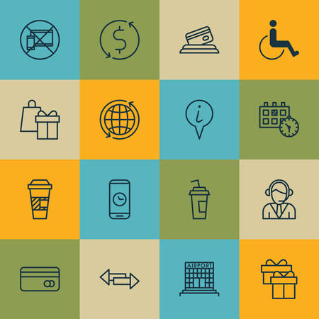 tour operator: Set Of Airport Icons On Takeaway Coffee, Shopping And Info Pointer Topics. Editable Vector Illustration. Includes Shopping, Center, Coffee And More Vector Icons. Illustration