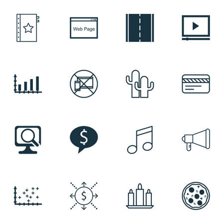 crotchets: Set Of 16 Universal Editable Icons. Can Be Used For Web, Mobile And App Design. Includes Icons Such As Crotchets, Pizza Meal, Laptop And More. Illustration