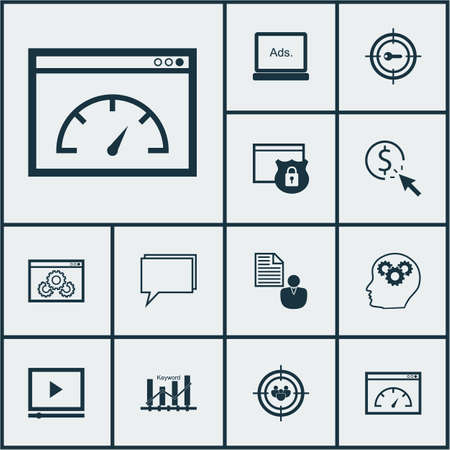 reporting: Set Of Marketing Icons On Brain Process, Keyword Marketing And PPC Topics. Editable Vector Illustration. Includes Plan, Optimization, Page And More Vector Icons.