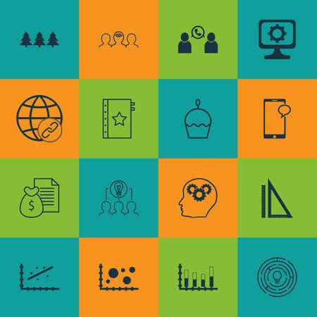 Ensemble de 16 icônes modifiables universelles. Peut être utilisé pour le Web, Mobile et App Design. Comprend des icônes telles que le processus cérébral, la conférence téléphonique, le coaching, etc.
