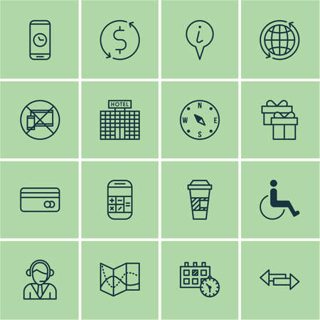 tour operator: Set Of Traveling Icons On Takeaway Coffee, Forbidden Mobile And Locate Topics. Editable Vector Illustration. Includes Time, Dollar, Compass And More Vector Icons.