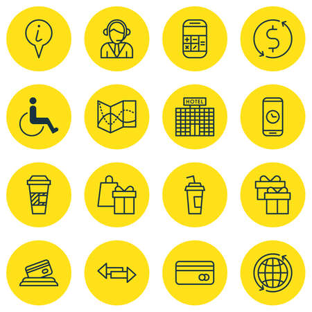 infirm: Set Of Transportation Icons On Takeaway Coffee, World And Present Topics. Editable Vector Illustration. Includes Pointer, Paralyzed, Accessibility And More Vector Icons. Illustration