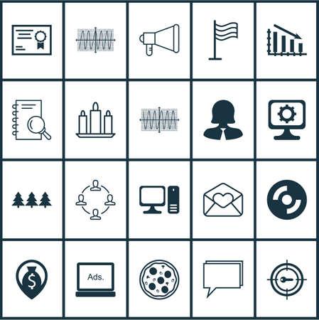 Set di 20 icone modificabili universali. Può essere utilizzato per Web, Mobile e App Design. Include icone come computer desktop, pin, sinus grafico e altro ancora.