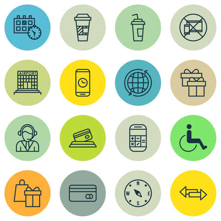 topics: Set Of Traveling Icons On Airport Construction, Operator And Present Topics. Editable Vector Illustration. Includes Calculation, Globe, Phone And More Vector Icons.