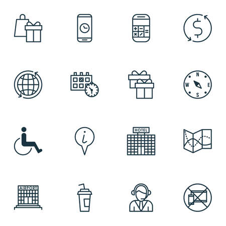 paralyzed: Set Of Airport Icons On Present, Locate And Hotel Construction Topics. Editable Vector Illustration. Includes World, Paralyzed, Device And More Vector Icons.